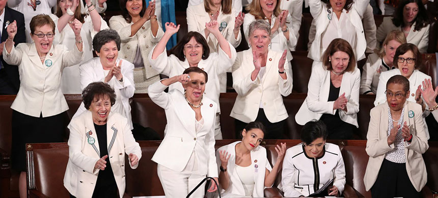 Democratic female members of Congress cheered after President Donald Trump said during his State of the Union address on Tuesday night that there were more women in Congress than ever before. (photo: Jonathan Ernst/Reuters)