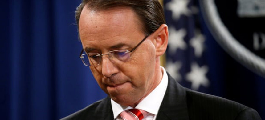 Rod Rosenstein, the deputy attorney general, was upset after the president ordered him to write the memo, according to Andrew McCabe's book. (photo: Leah Millis/Reuters)