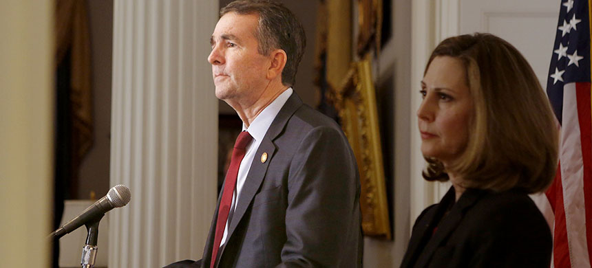 Governor Ralph Northam addresses the media at the Governor's Mansion in Richmond, Virginia. (photo: Julia Rendleman/WP)