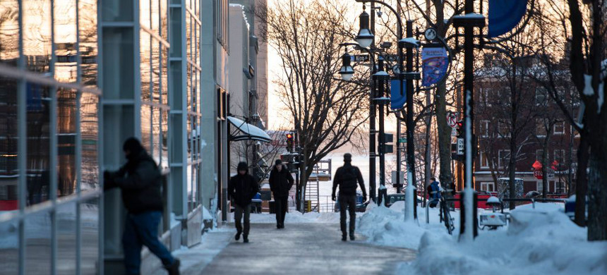Commuters walk to work in Madison, Wisconsin. (photo: Lauren Justice/Washington Post)