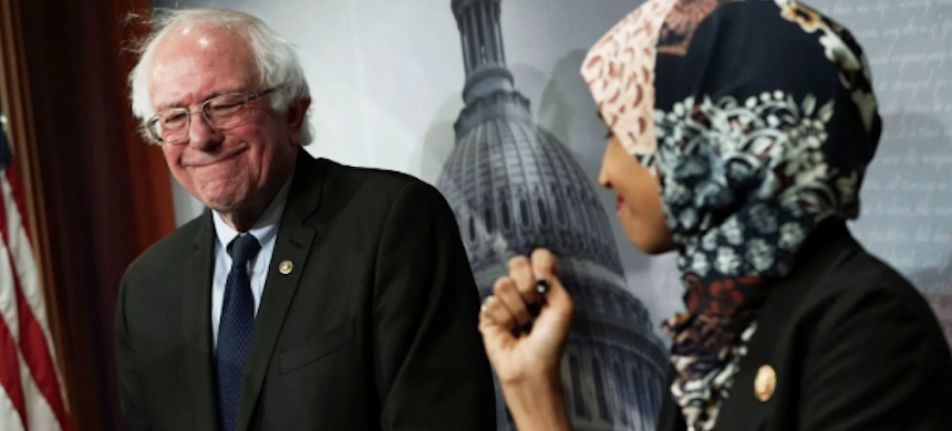 Bernie Sanders and Ilhan Omar. (photo: Alex Wong/Getty Images)