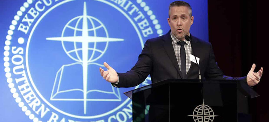 The president of the Southern Baptist Convention, JD Greear, speaks to the denomination's executive committee in Nashville, Tennessee on 18 February. (photo: Mark Humphrey/AP)