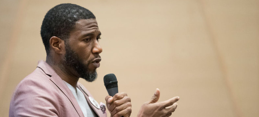 Jumaane D. Williams was elected as public advocate, beating a field of 16 candidates. (photo: Mary Altaffer/AP)