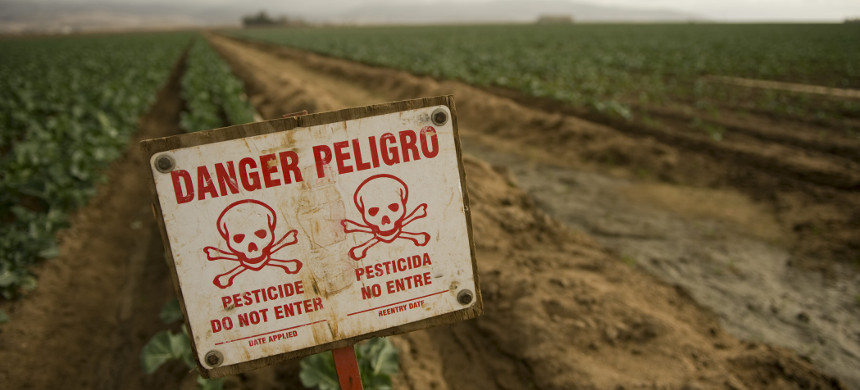 Sign warns against entering due to pesticide application. (photo: iStock)