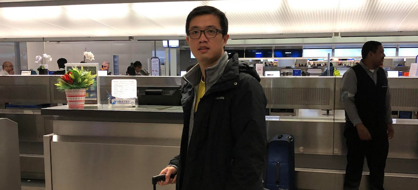 Leo Wang, 32, arrives at the airport for his flight home to China on February 18, 2019, after his H-1B visa petition was denied. (photo: Leo Wang)