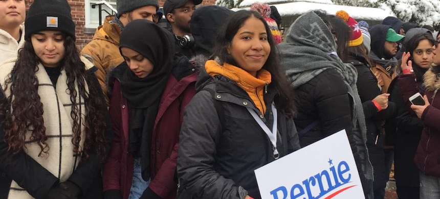 Sanders supporters at his first presidential campaign rally. (photo: Meagan Day)