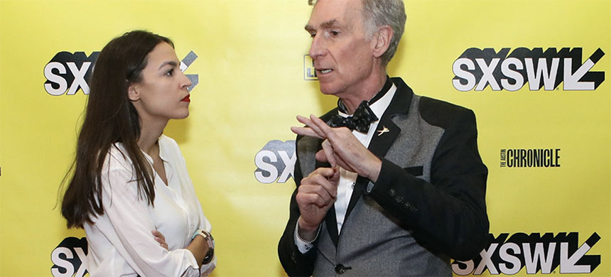 Bill Nye and Alexandria Ocasio-Cortez at South by Southwest on Saturday. (photo: Samantha Burkardt/Getty Images/SXSW)