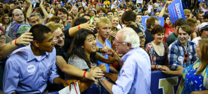 Bernie Sanders talks to supporters during a rally. (photo: Joshua Trujillo/Seattlepi.com)
