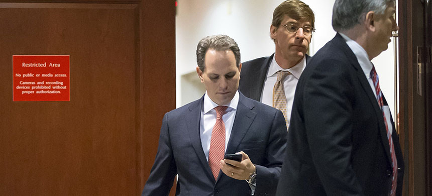 Former Defense Department chief of staff Jeremy Bash steps out of a secure area in the Capitol, where he was questioned by the House Benghazi Committee in a closed session in January, 2016. (photo: J. Scott Applewhite/AP)