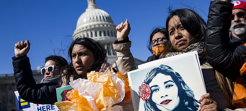 When Donald Trump attempted to end DACA program to protect young unauthorized immigrants from deportation, it was met with protests like this one. (photo: Samuel Corum/Anadolu Agency/Getty Images)