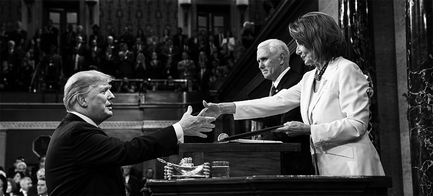 House Speaker Nancy Pelosi and President Donald Trump greet one another prior to the 2019 State of the Union Address. (photo: Doug Mills/Pool)