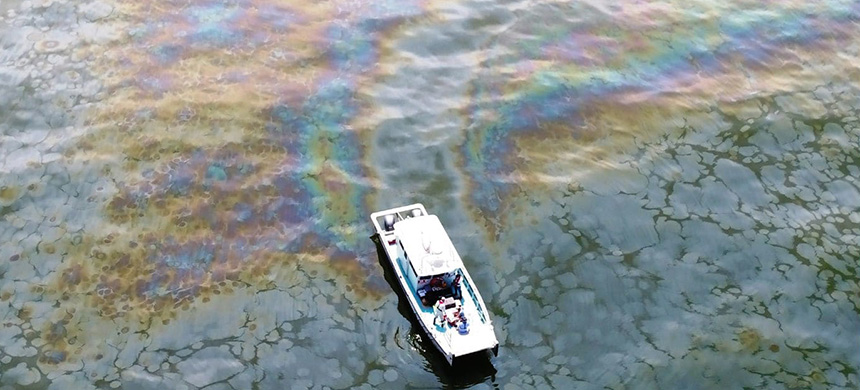 An aerial image of an oil slick in the Gulf of Mexico, taken on April 28, 2018. (photo: Oscar Garcia-Pineda/WP)