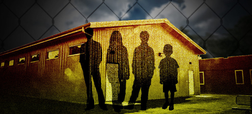 Illustration of shelters holding immigrant children. (photo: Gabriel Hongsdusit/Reveal)
