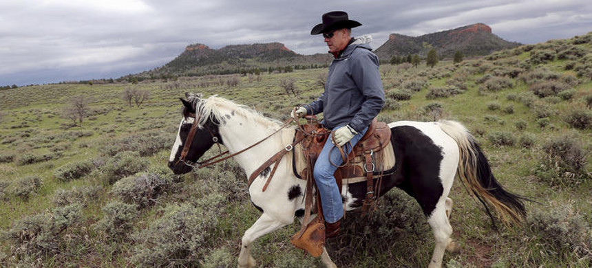 Then-interior secretary Ryan Zinke rides a horse in the new Bears Ears National Monument near Blanding, Utah, in May 2017. The Trump administration has sought to allow access for oil and gas drilling, logging and other industries in some monuments, including Bear Ears. (photo: Scott G. Winterton/The Deseret News)