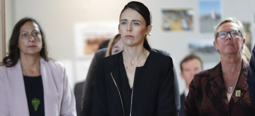 New Zealand's prime minister Jacinda Ardern visited Cashmere High School in Christchurch, which lost two current students to the shootings at two mosques. (photo: Vincent Thian/AP)