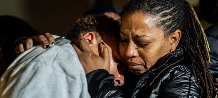 Supporters of the family of Antwon Rose II react to the verdict on Friday. (photo: Michael M. Santiago/AP)