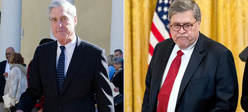 Special Counsel Robert Mueller and Attorney General William Barr. (photo: Cliff Owen/AP/REX/Shutterstock, Andrew Harnik/AP/REX/Shutterstock)