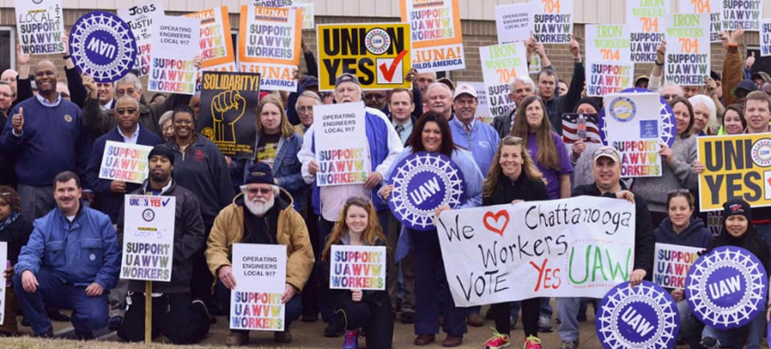 For the third time in five years, auto workers will vote on whether to form a union at the country's sole Volkswagen plant, located in Chattanooga, Tennessee. (photo: Labor Notes)