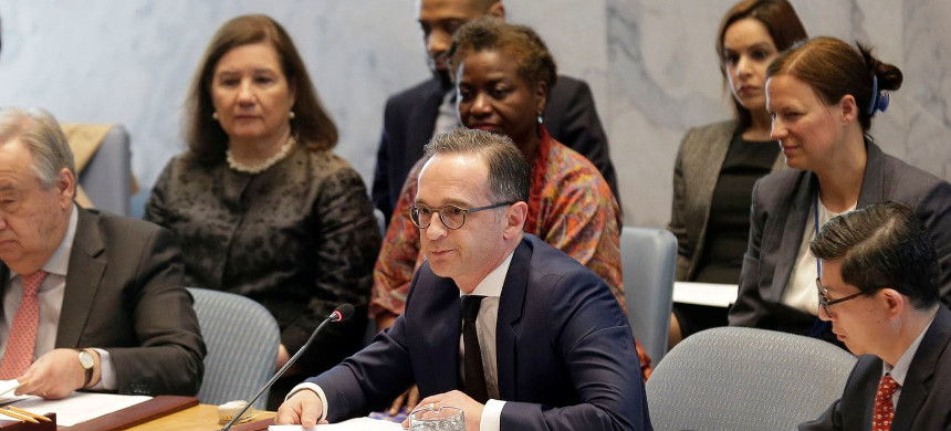 German Foreign Minister Heiko Maas, center, participates in a Security Council meeting on sexual violence at United Nations headquarters, Tuesday, April 23, 2019. (photo: Seth Wenig)