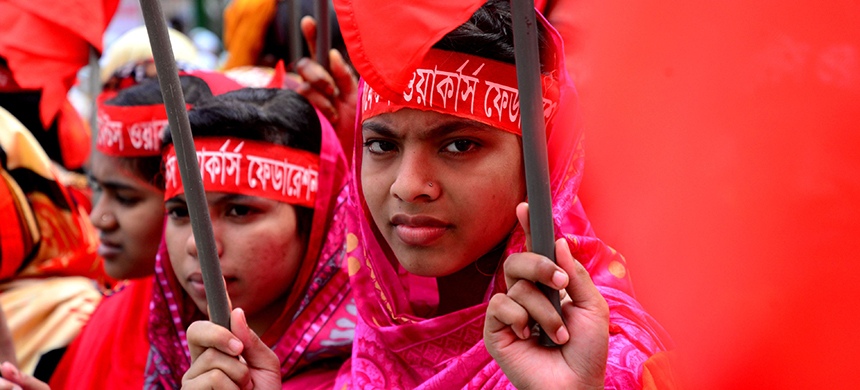Female garment workers participate in a May Day rally in Dhaka, Bangladesh. They are demanding six months of maternity leave and protections against sexual abuse in the workplace.  (photo: Mamunur Rashid/NurPhoto/Getty Images)