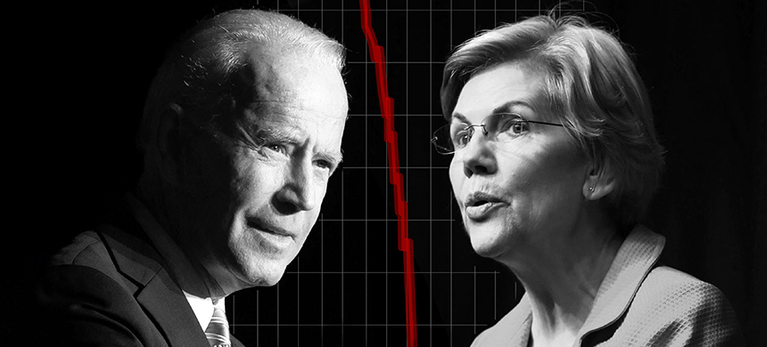 Joe Biden and Elizabeth Warren. (image: Saul Loeb/AFP/Spencer Platt/Getty Images/Xavier Zarracina/Vox)