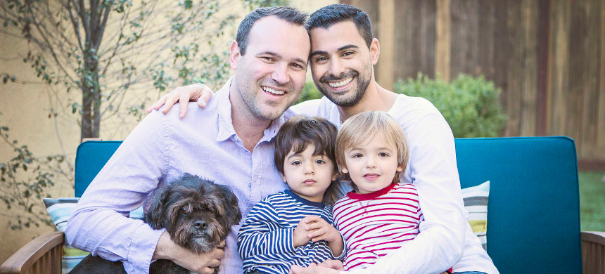 Aiden and Ethan's fathers, Andrew and Elad Dvash-Banks. (photo: Courtesy Laura Starks/Immigration Equality)