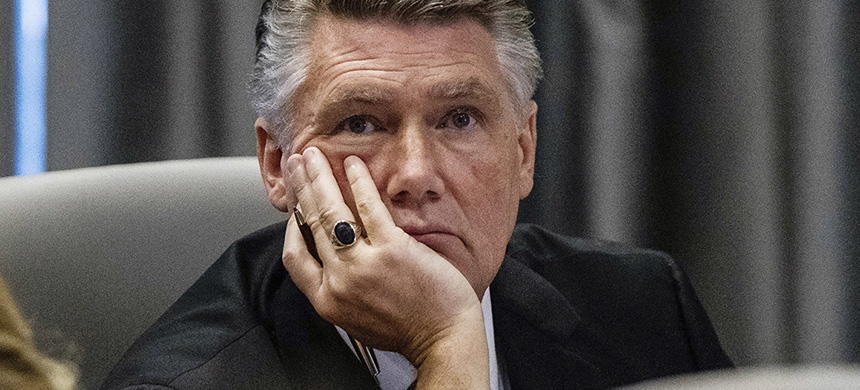 Mark Harris listens to testimony during a public evidentiary hearing on the 9th congressional district voting irregularities investigation Feb. 19, 2019. (photo: Travis Long/The News and Observer/AP)