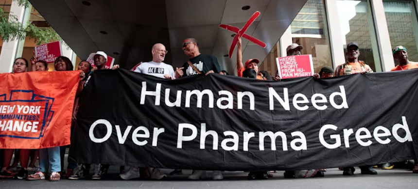 Activists rally during a protest against the price of EpiPens, outside the office of hedge fund manager John Paulson, August 30, 2016, in New York City. (photo: Drew Angerer/Getty Images)