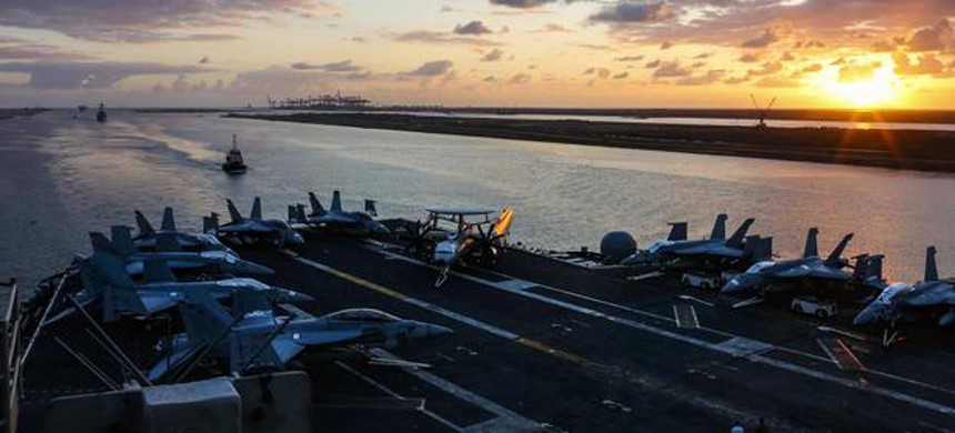 US aircraft carrier Abraham Lincoln transits the Suez Canal on May 9, 2019. (photo: Dan Snow/US Navy)