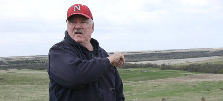 Bob Allpress points to where the Keystone XL pipeline is slated to cut through his land. (photo: Anna Belle Peevey)