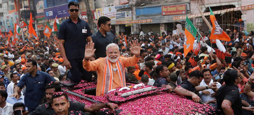 Prime Minister Narendra Modi at a roadshow in his Lok Sabha constituency, Varanasi, on April 25, 2019. (photo: Getty)