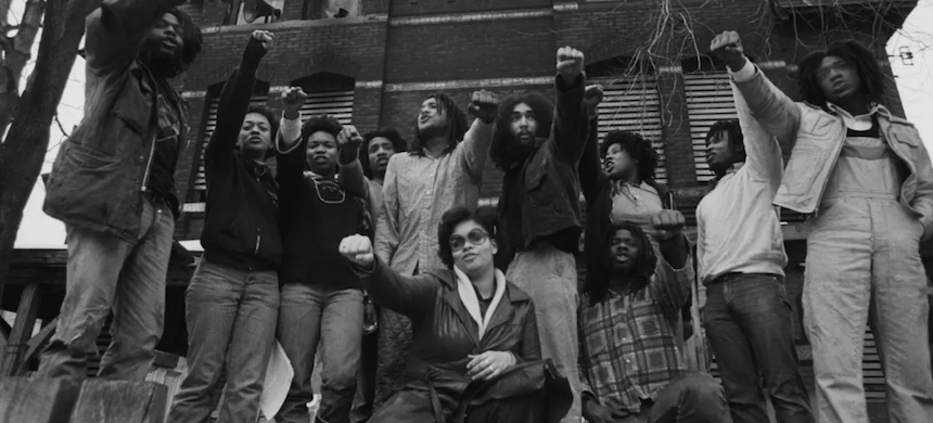 Members of Move in front of their house in the Powelton Village section of Philadelphia in 1977. The group have always said James Ramp was killed by fellow officers. (photo: Leif Skoogfors/Getty Images)