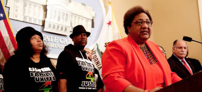 Assemblywoman Shirley Weber, D-San Diego, discusses her bill that would allow police to use deadly force only when there is no reasonable alternative. (photo: Rich Pedroncelli/AP)