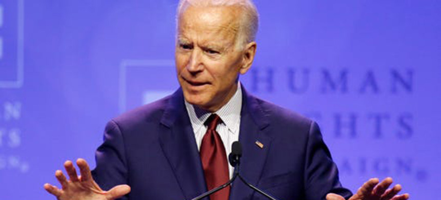 Democratic presidential candidate, former Vice President Joe Biden speaks during the Human Rights Campaign Columbus, Ohio Dinner at Ohio State University Saturday, June 1, 2019. (photo: Paul Vernon/AP)