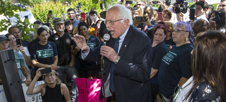 U.S. Sen. Bernie Sanders (I-Vt.) speaks to a crowd of his supporters gathered Wednesday, June 5, 2019, outside the Walmart shareholders formal business meeting (photo: Ben Goff/Democrat Gazette)