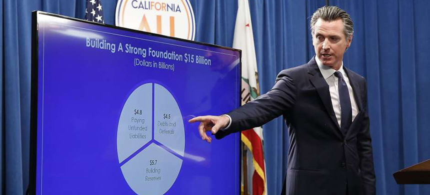 Gov. Gavin Newsom discusses his revised state budget in Sacramento on May 9. (photo: Rich Pedroncelli/AP)
