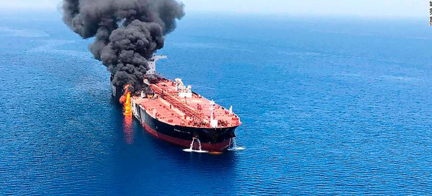A Japanese oil tanker ablaze in the Gulf of Oman. (photo: ISNA)