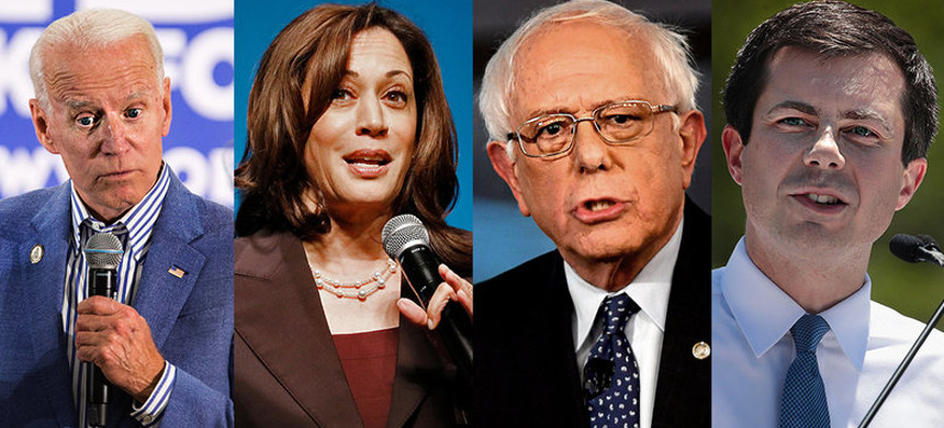 Former vice president Joe Biden, Sen. Kamala Harris, Sen. Bernie Sanders, and Mayor Pete Buttigieg will all be on the debate stage together on June 27. (photo: Scott Eisen; Kimberly White; Mark Makela; Scott Olson/Getty)