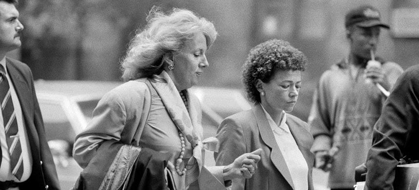 Elizabeth Lederer, left, the prosecutor in the trial of the Central Park Five in 1990, with Linda Fairstein, an assistant district attorney and chief of the sex crimes prosecution unit in Manhattan. (photo: Chester Higgins, Jr./NYT)