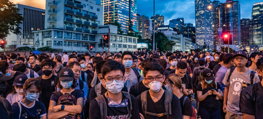 Protesters in Hong Kong. (photo: Getty)
