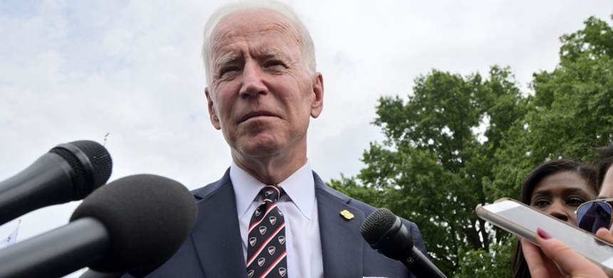 Former Vice President Joe Biden speaking at a press conference in New Castle, DE on May 30, 2019. (photo: Bastiaan Slabbers/NurPhoto/Getty Images)