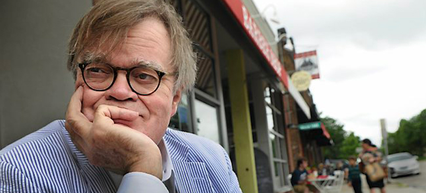 Garrison Keillor on Grand Avenue in St. Paul, near his bookstore Common Good Books in 2014. (photo: Jean Pieri/Pioneer Press)