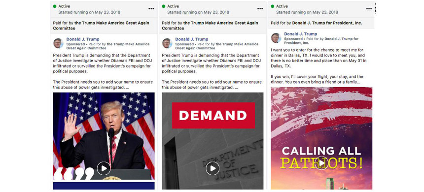 Ads run from the Donald J. Trump Facebook page as seen in the new Facebook political ad tracker. (photo: Facebook)