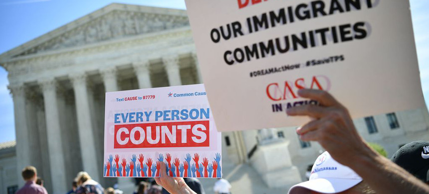 Demonstrators protest the citizenship question at the Supreme Court in April. (photo: Mandel Ngan/Getty)