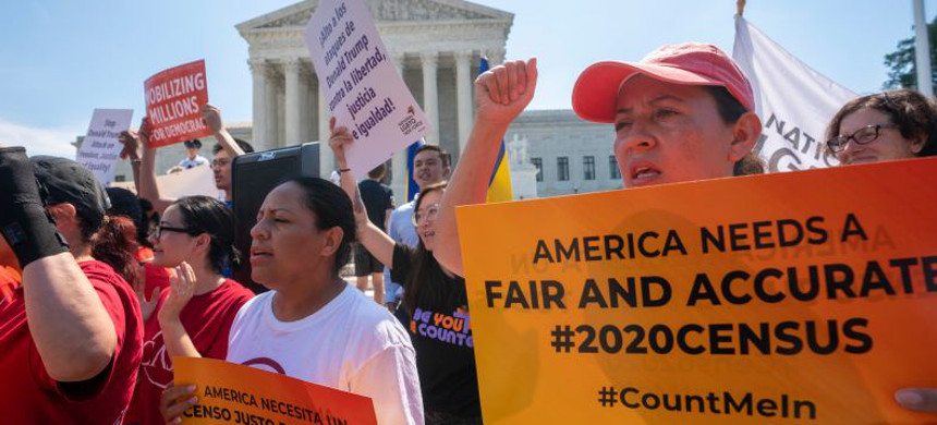Protest against citizenship question on U.S. Census. (photo: J. Scott Applewhite/AP)