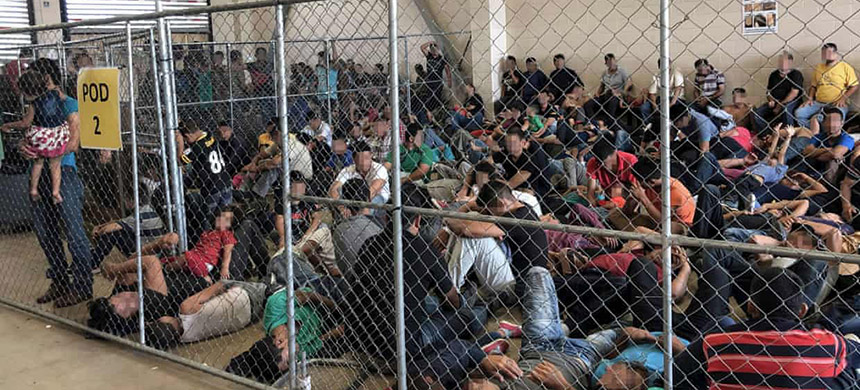 Overcrowding at the US border patrol station in McAllen, Texas, on 10 June. The team who visited the center in Clint found children did not have adequate access to drinking water or food. (photo: Handout/Getty Images)