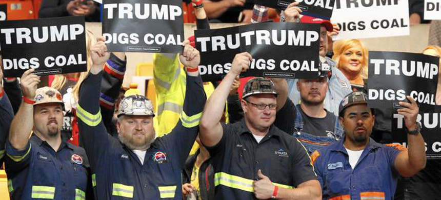 Coal workers at Trump rally. (photo: AP)