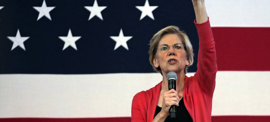 Democratic presidential candidate Sen. Elizabeth Warren, D-MA, speaks during a campaign stop at town hall in Peterborough, N.H., Monday, July 8, 2019. (photo: Charles Krupa/AP)