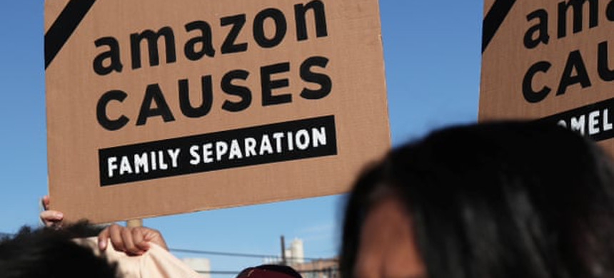 Protesters demonstrated outside of the Amazon Web Services summit on Thursday. (photo: Shannon Stapleton/Reuters)