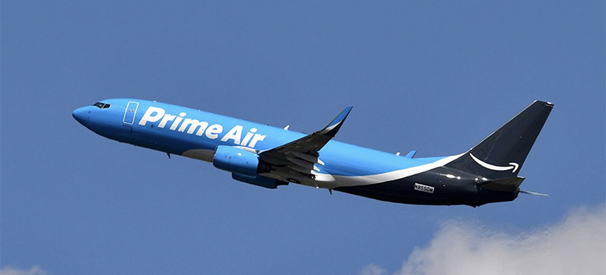 A Boeing 737-800 BCF (Boeing Converted Freighter) is marked 'Prime Air' as part of Amazon Prime's freight aircraft during the 53rd International Paris Air Show at Le Bourget Airport near Paris, France on June 22. (photo: Mustafa Yalcin/Anadolu Agency/Getty Images)